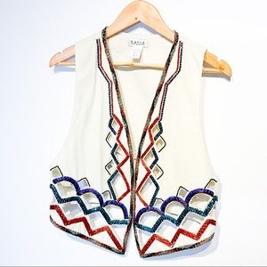 Rare VINTAGE Cutout Vest With Bead Embroidery